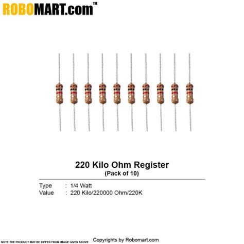 220 ohm resistor buy india buy 220 kilo ohm 1 4 watt resistor resistance india