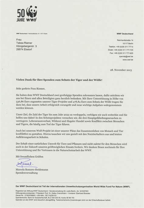 wwf charity letter naturama projekt 2015