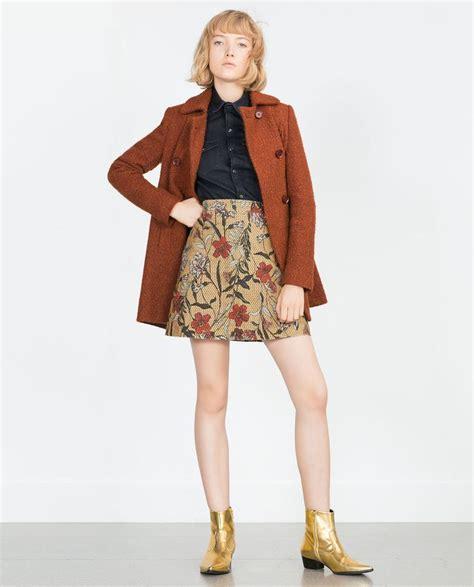 Zara Emboss Skirt zara printed skirt la mode wool printed and denim skirts