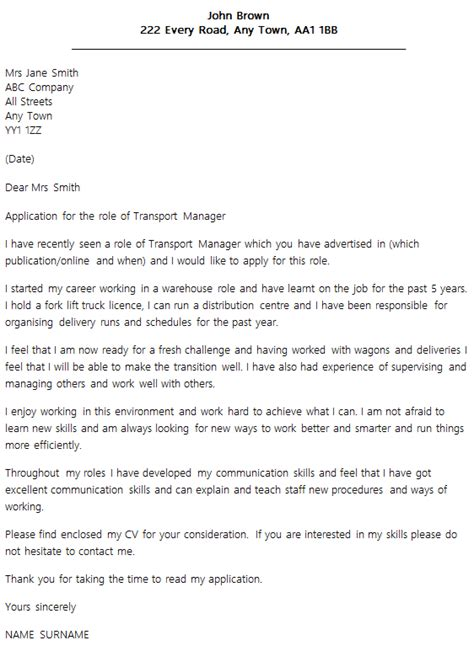Transportation Executive Cover Letter by Transport Manager Cover Letter Exle Icover Org Uk