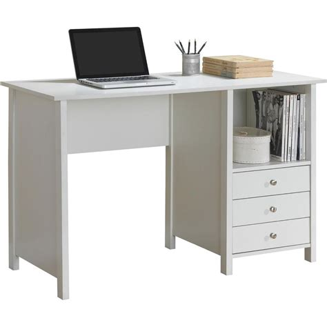 New Home Office Computer Writing Desk With Drawer Storage White Desk With Drawers