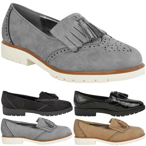 brogues loafers womens flat casual brogues office fringe tassel