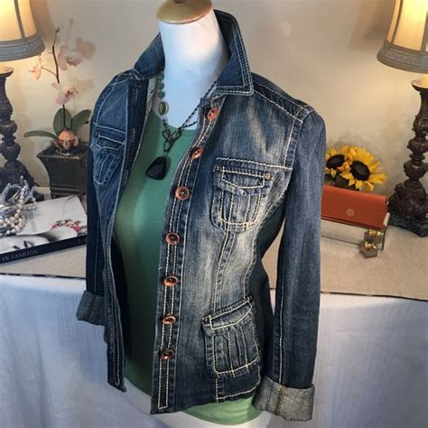 S Size Sleeved Denim Jacket Spell Leather Coll 1 80 elie tahari jackets blazers elie tahari cool