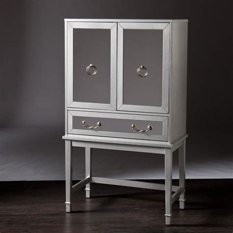 Mirrored Bar Cabinet Southern Enterprises Mirage Mirrored Bar Cabinet In Silver Hz9155