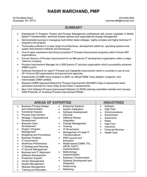 Example Great Resume by It Project Manager Free Resume Samples Blue Sky Resumes