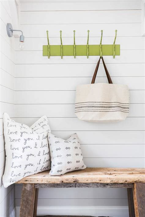 reclaimed wood mudroom bench comfort gray cottage laundry room sherwin williams