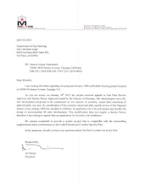Withdrawal Appeal Letter samoa ave sb1818 project developer withdraws 64 unit application