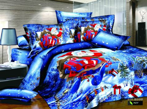 blue christmas 3d bedding set 4pcs santa claus queen size