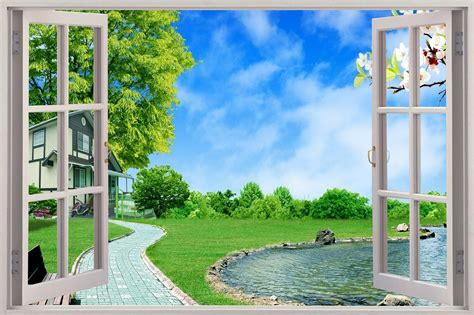 garden wall stickers 3d window view enchanted garden wall sticker mural