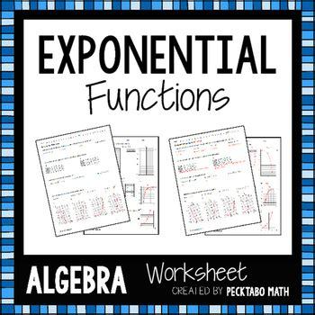 Exponential Functions Worksheet Algebra 1 by Exponential Functions Algebra Worksheet By Pecktabo Math Tpt