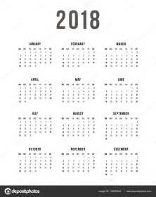 Word Vorlage Jahreskalender 2018 Kalender 2018 Auf Wei 223 Em Hintergrund Woche Beginnt Sonntag Einfachen Vektor Vorlage