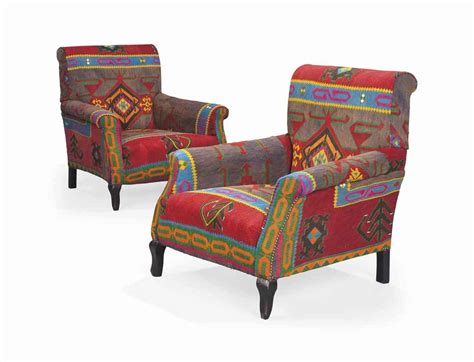a pair of kilim upholstered armchairs second half 20th