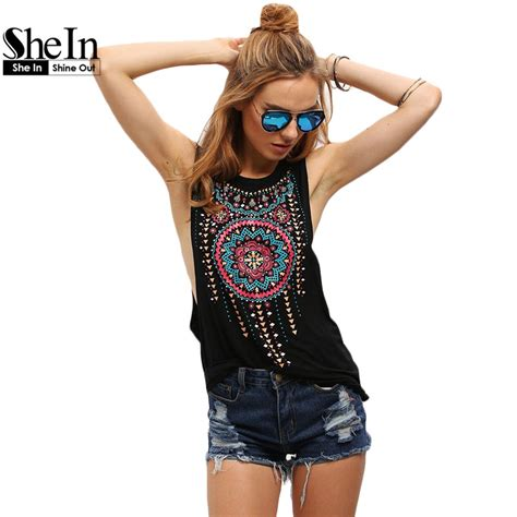 Sleeveless Tribal Top 1 shein new summer style tops black neck sleeveless vintage tribal print fitness