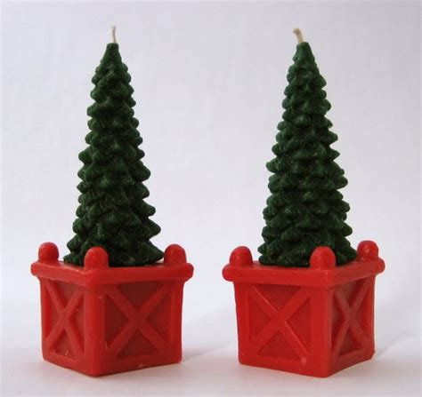 tree shaped christmas candles set of 2 charming