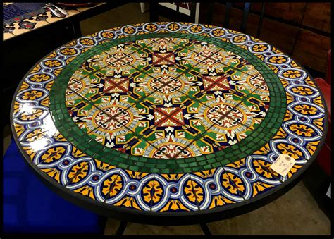 pattern out in spanish tile and glass mosaic tables
