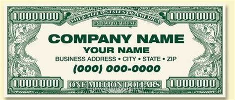 standard front custom back million dollar business card
