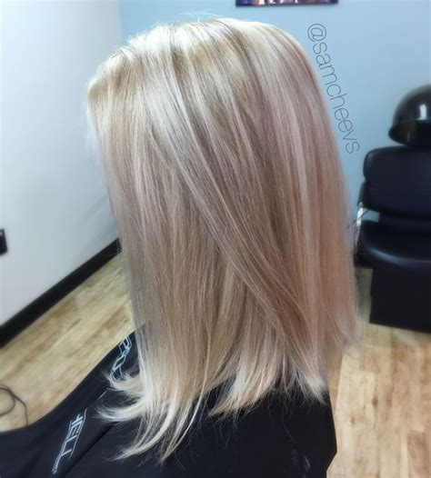 long bob hairstyles with low lights platinum white butter blonde hair color with dirty blonde