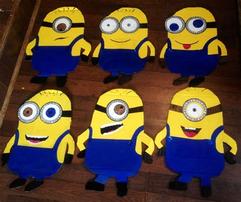 minion decorations from cardboard tracing and