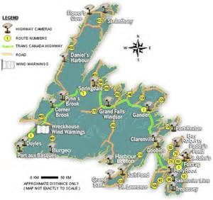 road map of newfoundland canada major driving routes and live highway cameras department