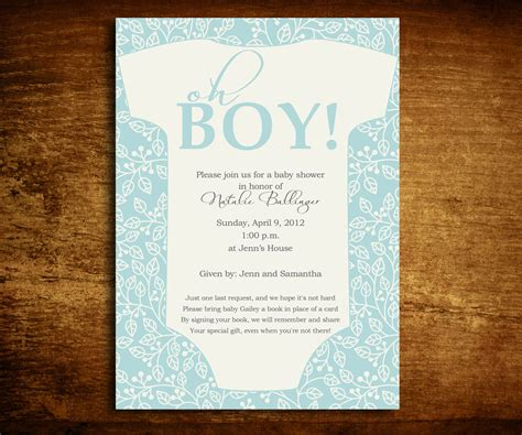 Baby Shower Poems For Boy by Oh Boy Onesie Baby Shower Invitation And Poem Card
