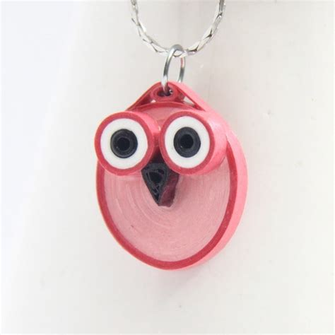 paper quilled owl pendants     paper bead