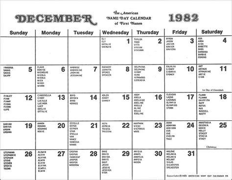 Calendar Names American Name Day Calendar Of Names December 1982