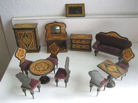 doll house chairs antique miniature german dollhouse paper litho furniture large set 3 4 quot scale in