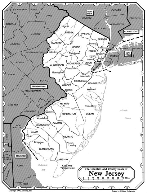 printable maps nj all about genealogy and family history new jersey family