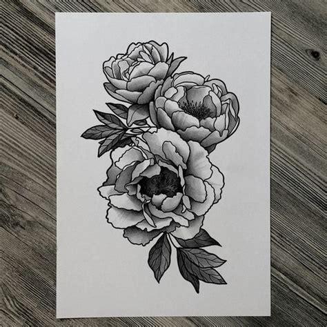 japanese peony black and grey sleeve by darko peony black white recherche ink
