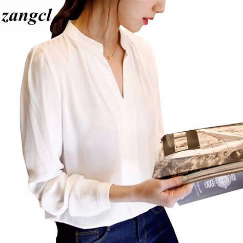 Import V Neck Blouse Hitam Flower Bunga Lengan Panjang Jumbo Big Size lengan panjang putih blus untuk wanita beli murah lengan