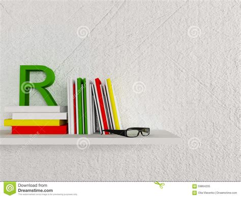 On The Shelf Glasses by Books And A Glasses On The Shelf Stock Illustration