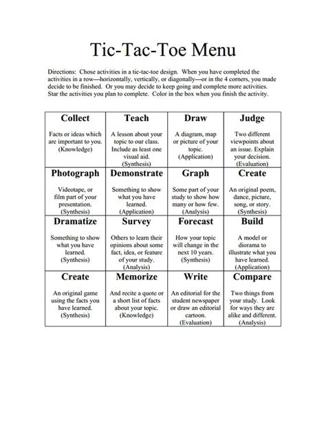 tic tac toe choice board template 115 best learning menus and choice boards images on