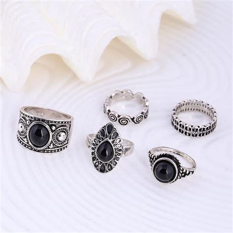Cincin Silver cincin midi ring turkish vintage 5 set silver jakartanotebook
