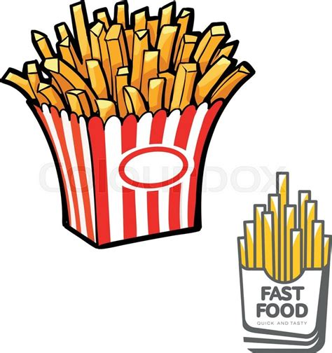 french fries  paper pack vector stock vector