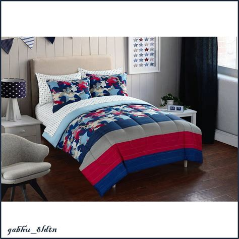 teenage bedding boys teens comforter set sheet set red navy white star