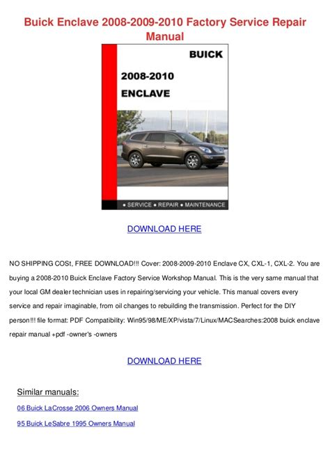 service manual how to download repair manuals 2008 kia spectra lane departure warning 2006 buick enclave 2008 2009 2010 factory service repair manual