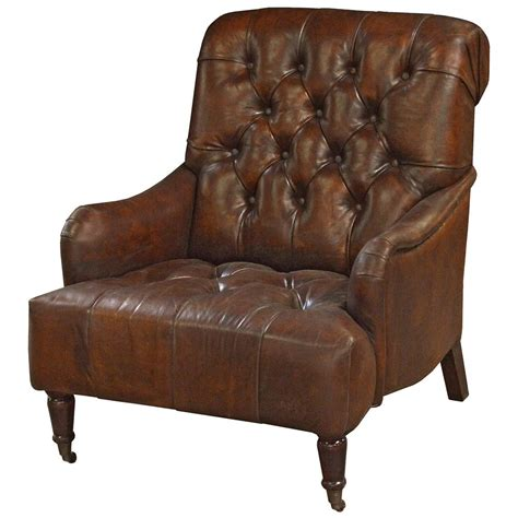 rustic armchair barren rustic lodge tufted vintage brown leather castors
