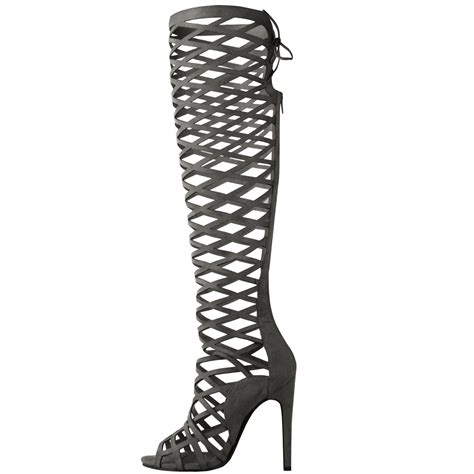 womens cut out lace knee high heel boots gladiator