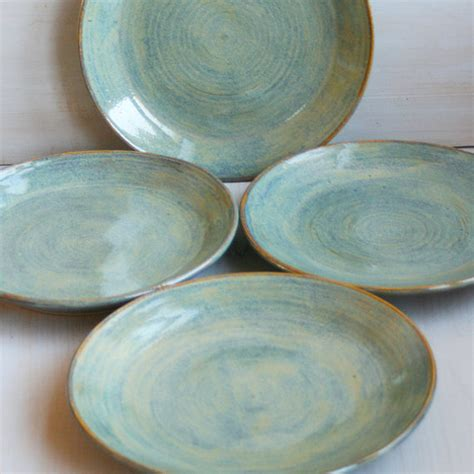 Handmade Pottery Dinner Plates - ceramic dinner plates rustic green plates by andoverpottery