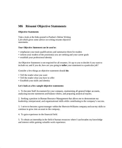 objective statement resume sle objective 40 exles in pdf word