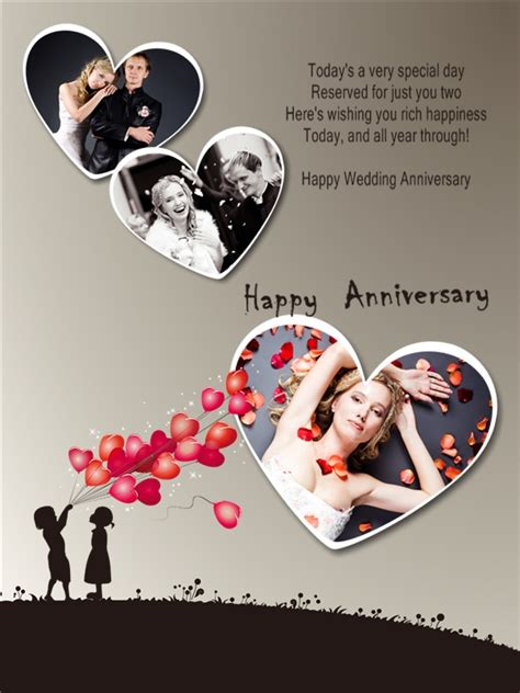 anniversary cards templates anniversary collage card add on templates free
