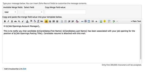 emails inside zoho recruit