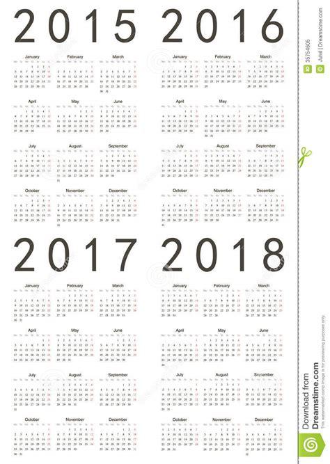 Calendar 2015 To 2017 Set Of European 2015 2016 2017 2018 Calendars Royalty
