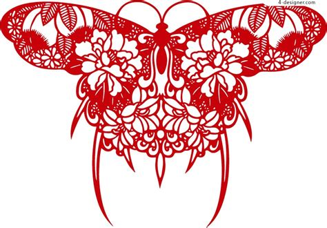4 Designer Beautiful Butterfly Silhouette Design Vector Material Silhouette Templates For Paper Cutting