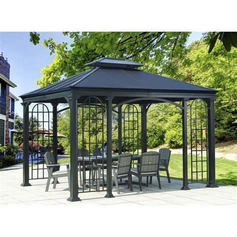 permanent gazebo sunjoy 12 ft w x 10 ft d metal permanent gazebo wayfair