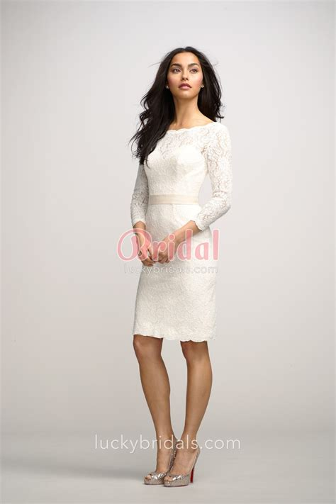 boat neck dress with 3 4 sleeves chic boat neck ivory lace knee length bridesmaid dress