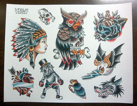 tattoo sheets designs traditional flash sheet