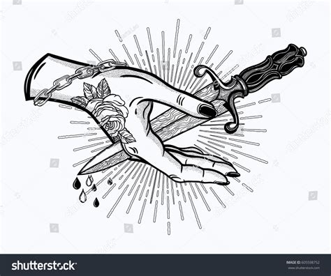 traditional tattoo flash hand pierced by stock vector
