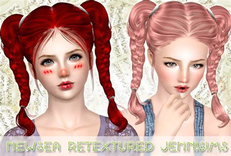 hair braids sims 3 double braids hairstyle newsea retextured by jenni sims