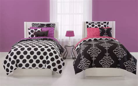 Bedcover Set 180x200x20cm Jaxine Polkadot Black Pink Unique Black And White Polka Dot Sheets Homesfeed